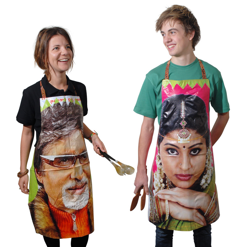 Bollywood aprons made by Baladarshan workers from the slums