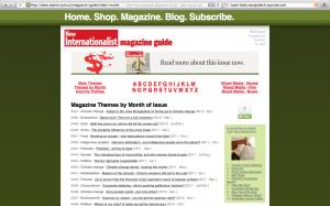 New Internationalist magazine themes by month