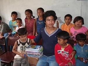 Raj Kumar with HIV kids