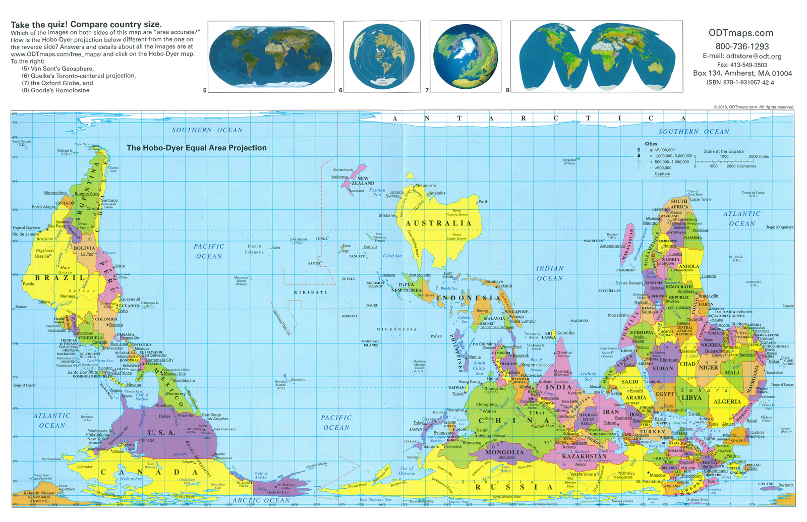 Hobo dyer placemat folded map new internationalist fair trade shop retains qualities of the other equal area cylindrical projections but is more visually satisfying a startling south up gumiabroncs Images