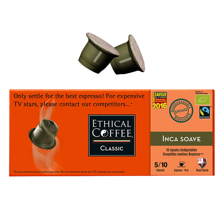Inca Soave Espresso Coffee Biodegradable Pods